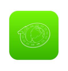 Road around earth globe icon green vector