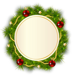 Round Christmas wreath of fir branches vector