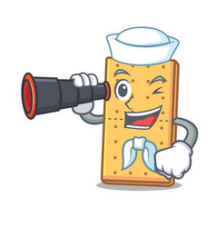 Sailor with binocular graham cookies mascot vector