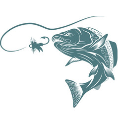 Salmon fish and lure design template vector