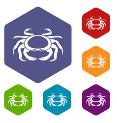 Seafood crab icons set hexagon vector