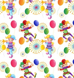 Seamless clown and balloons vector image
