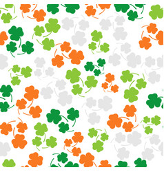 Seamless pattern with three leaf color clover vector