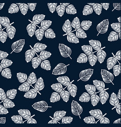 seamless pattern with white leaves vector image