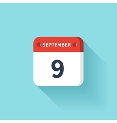 September 9 Isometric Calendar Icon With Shadow vector