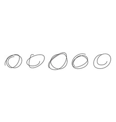 set hand drawn sketch circles in scribble vector image