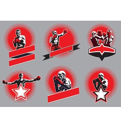 Set of circular combative sport icons or emblems vector image