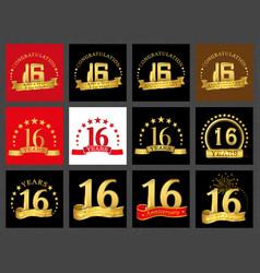 set of number sixteen 16 years celebration design vector image