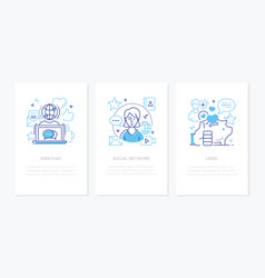 social network concept - line design style banners vector image