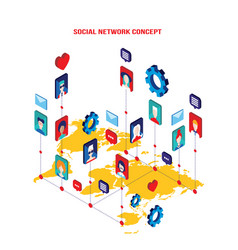 Social network concept modern flat isometric vector