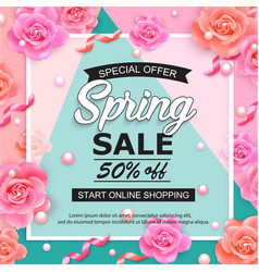Spring sale banner with roses pearls and ribbons vector