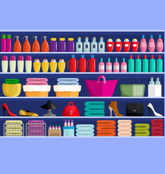 Store shelves with assortment of goods vector