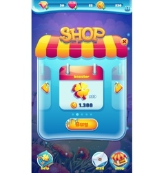 Sweet world mobile GUI shop screen video web games vector image