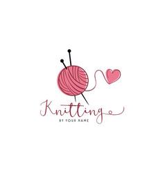 Tailor sewing knitting vintage needle yarn logo vector