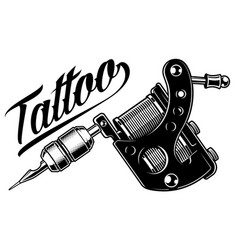 Tattoo machine monochrome vector