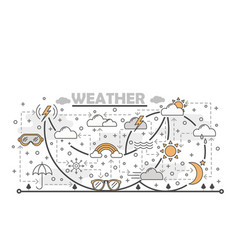Thin line art weather poster banner vector