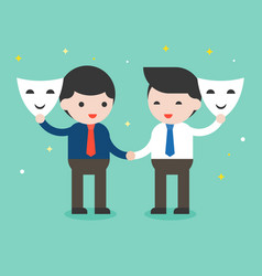Two businessman shake hand and open mask sincere vector