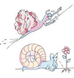 Two comic metaphoric snails vector