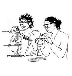 two female scientists with test tubes vector image