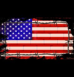 United states wall and barbed wire vector