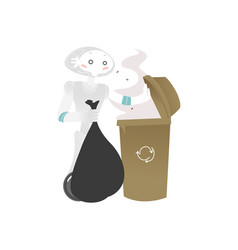 wheeled robot assistant taking garbage bag out vector image