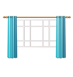 Window with turquoise curtains isolated on white vector