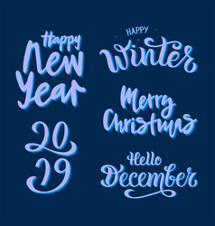 winter set on blue background vector image