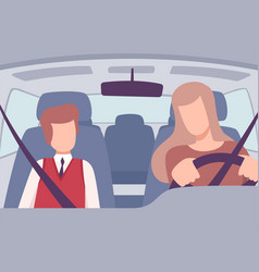 woman driving a car boy sitting on a passenger vector image