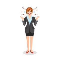 Woman full anger is shouting something vector