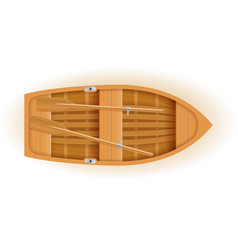 Wooden boat top view vector
