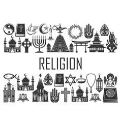 world religion icons religious symbols vector image