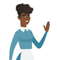 young african-american cleaner waving her hand vector image