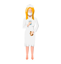 young nurse in white medical uniform holds pills vector image