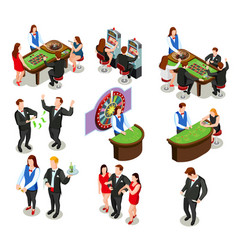 casino isometric decorative icons vector image