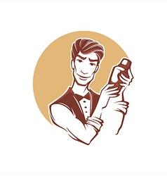 handsome barman vector image