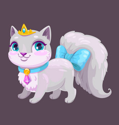 little cute cartoon kitty princess vector image