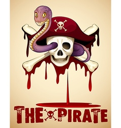 Pirate theme with skull and snake vector