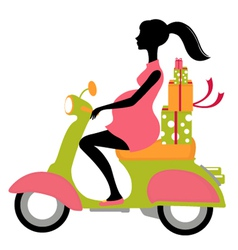Pregnant woman scootering with gifts vector image vector image