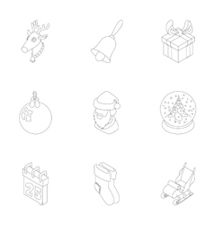 Winter holiday icons set outline style vector image