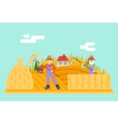 Autumn hay peasant harvestman harvest Icon on vector image vector image
