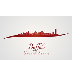 Buffalo skyline in red vector image vector image