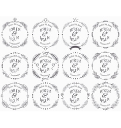 Collection of floral handdrawn frames vector image vector image