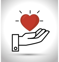 hand hold heart design vector image vector image