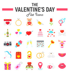 happy valentines day flat icon set vector image