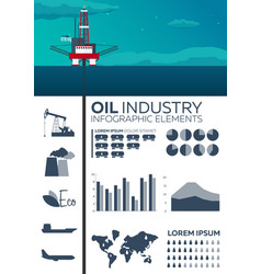 infographic elements of oil industry sea oil vector image
