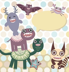 Polka dot background pattern Funny cute dinosaur vector image vector image