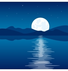 Reflection of the moon in water vector image