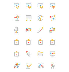 School and Education Colored line Icons 8 vector image vector image