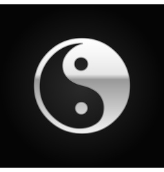Silver Yin Yang symbol icon on black background vector image vector image