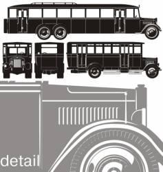 Vintage bus set vector